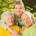 Long-term care image, seniors, grand children, family