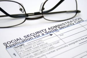 Image of social security application, glasses