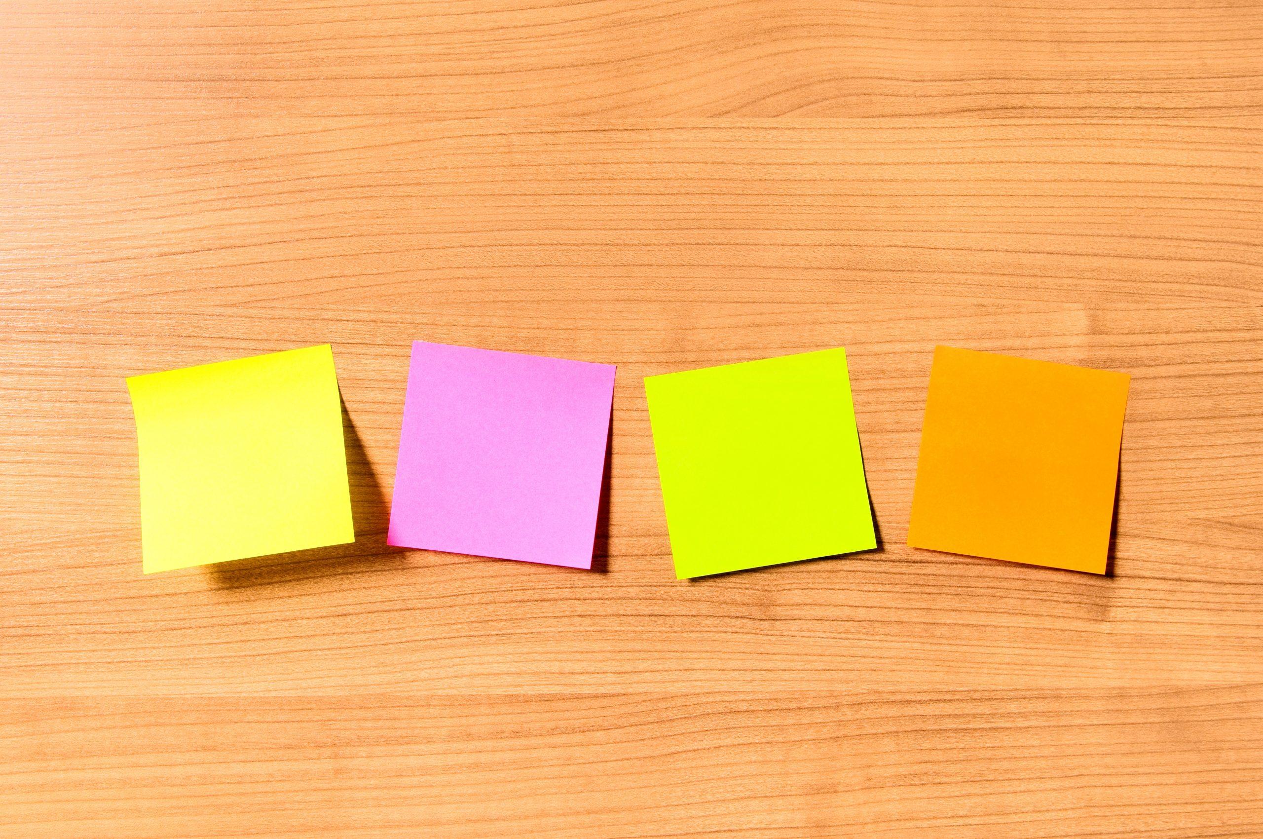 sticky notes on desk, declutter, organize